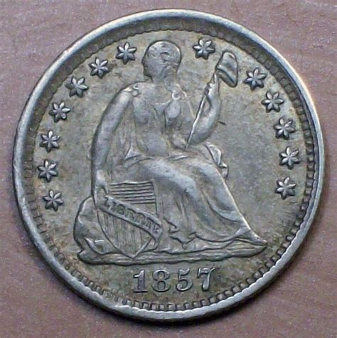 1857 Seated Liberty HALF DIME SILVER AU Nice Toning Early