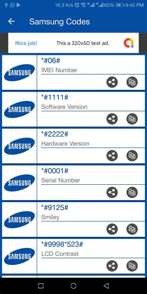Samsung Secret Codes - Android Source Code by Nadeemtaj5